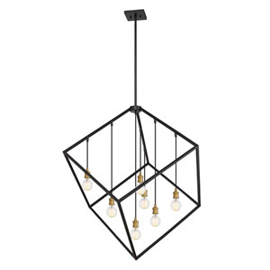 Vertical Bronze and Old Brass 44-Inch Seven-Light Pendant