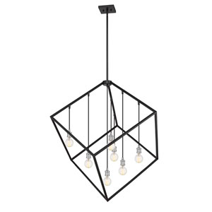 Vertical Matte Black and Brushed Nickel 44-Inch Seven-Light Pendant