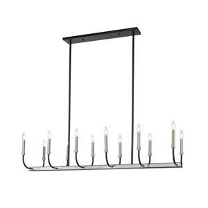 Haylie Matte Black and Brushed Nickel 12-Light Island Chandelier