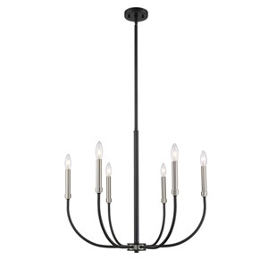 Haylie Matte Black and Brushed Nickel Six-Light Chandelier