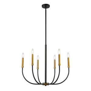 Haylie Matte Black and Olde Brass Six-Light Chandelier