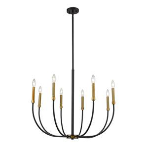 Haylie Matte Black and Olde Brass Eight-Light Chandelier