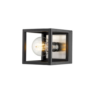Kube Matte Black and Brushed Nickel One-Light Wall Sconce