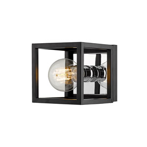 Kube Matte Black and Chrome One-Light Wall Sconce