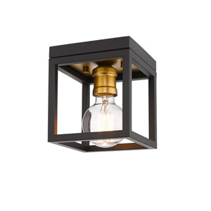 Kube Bronze and Old Brass One-Light Flush Mount