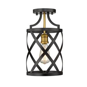 Malcalester Matte Black and Olde Brass One-Light Flush Mount