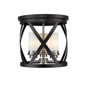 Malcalester Matte Black and Brushed Nickel Three-Light Flush Mount