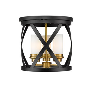 Malcalester Matte Black and Olde Brass Three-Light Flush Mount