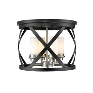 Malcalester Matte Black and Brushed Nickel Four-Light Flush Mount