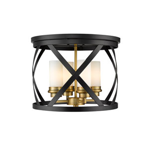 Malcalester Matte Black and Olde Brass Four-Light Flush Mount
