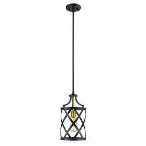 Malcalester Matte Black and Olde Brass One-Light Mini Pendant