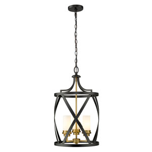 Malcalester Matte Black and Olde Brass Three-Light Pendant