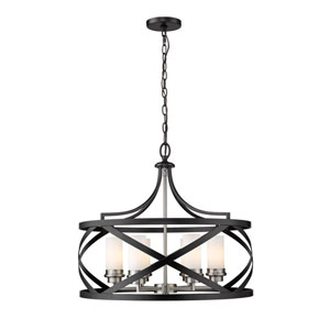 Malcalester Matte Black and Brushed Nickel Six-Light Pendant