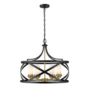 Malcalester Matte Black and Olde Brass Six-Light Pendant