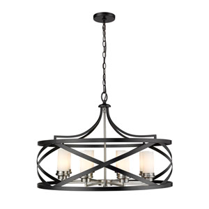 Malcalester Matte Black and Brushed Nickel Eight-Light Pendant