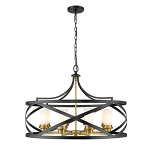 Malcalester Matte Black and Olde Brass Eight-Light Pendant