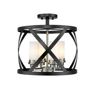 Malcalester Matte Black and Brushed Nickel Four-Light Semi Flush Mount