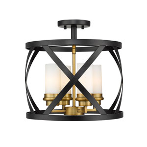 Malcalester Matte Black and Olde Brass Four-Light Semi Flush Mount