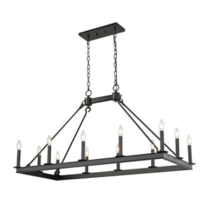 Barclay Matte Black 12-Light Island Chandelier