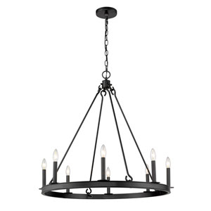 Barclay Matte Black 33-Inch Eight-Light Chandelier