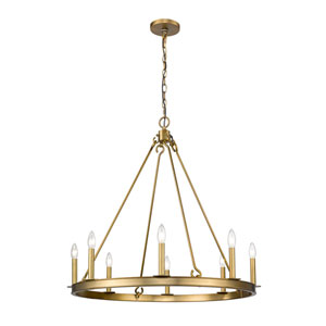 Barclay Olde Brass 33-Inch Eight-Light Chandelier