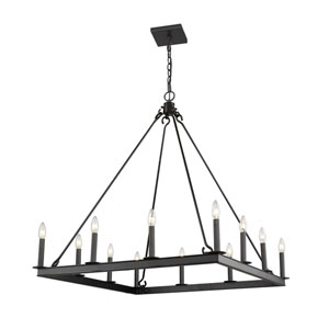 Barclay Matte Black 34-Inch 12-Light Chandelier