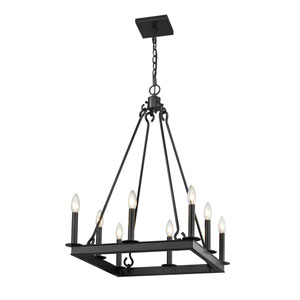 Barclay Matte Black 20-Inch Eight-Light Chandelier