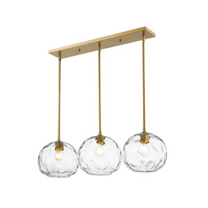 Chloe Olde Brass Three-Light Island Chandelier