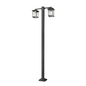 Black Two-Light Outdoor Post Mounted Fixture With Transparent Beveled Glass