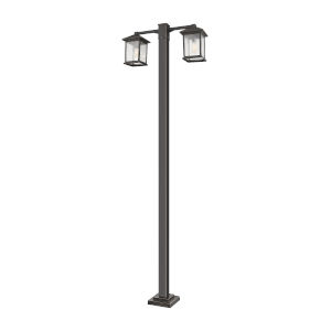 Oil Rubbed Bronze Two-Light Outdoor Post Mounted Fixture With Transparent Beveled Glass