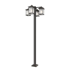 Oil Rubbed Bronze Four-Light Outdoor Post Mounted Fixture With Transparent Beveled Glass