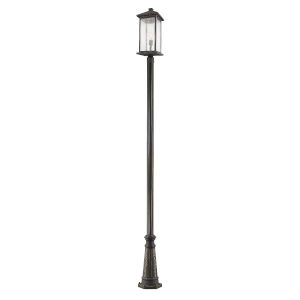Oil Rubbed Bronze 10-Inch One-Light Outdoor Post Mounted Fixture With Transparent Beveled Glass