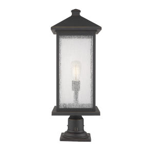 Oil Rubbed Bronze 9-Inch One-Light Outdoor Pier Mounted Fixture With Transparent Beveled Glass