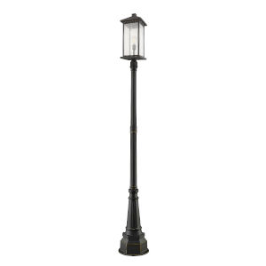 Oil Rubbed Bronze 14-Inch One-Light Outdoor Post Mounted Fixture With Transparent Beveled Glass