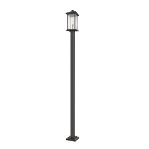 Oil Rubbed Bronze One-Light Outdoor Post Mounted Fixture With Transparent Beveled Glass