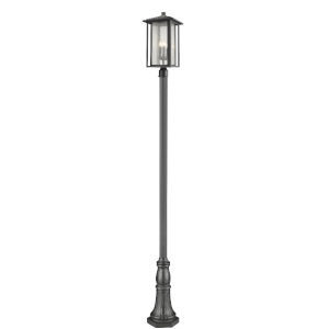 Aspen Black Three-Light Outdoor Post Mount with Clear Seedy Glass
