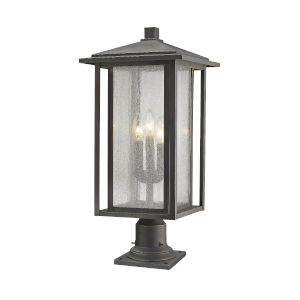 Aspen Oil Rubbed Bronze 25-Inch Three-Light Outdoor Pier Mount