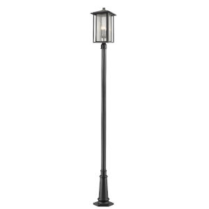 Aspen Black 118-Inch Three-Light Outdoor Post Mount with Clear Seedy Glass