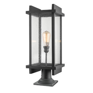 Fallow Black One-Light Outdoor Pier Mount with Clear Seedy Glass
