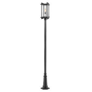 Fallow Black 119-Inch One-Light Outdoor Post Mount with Clear Seedy Glass
