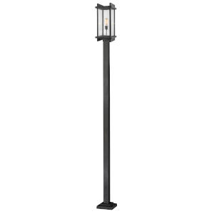 Fallow Black One-Light Outdoor Post Mount with Clear Seedy Glass