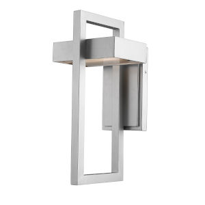 Luttrel Silver 15-Inch LED Outdoor Wall Sconce with Frosted Glass