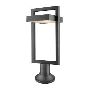Luttrel Black LED Outdoor Pier Mounted Fixture with Frosted Glass
