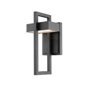 Luttrel Black LED Outdoor Wall Sconce with Frosted Glass