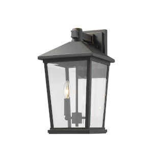 Beacon Oil Rubbed Bronze Two-Light Outdoor Wall Sconce With Transparent Beveled Glass