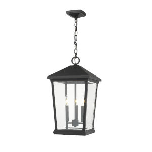 Beacon Black Three-Light Outdoor Pendant With Transparent Beveled Glass