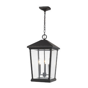 Beacon Oil Rubbed Bronze Three-Light Outdoor Pendant With Transparent Beveled Glass