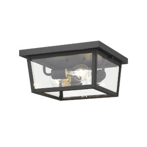 Beacon Black Three-Light Outdoor Flush Ceiling Mount Fixture With Transparent Beveled Glass