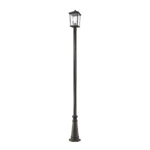 Beacon Oil Rubbed Bronze Two-Light Outdoor Post Mounted Fixture With Transparent Beveled Glass