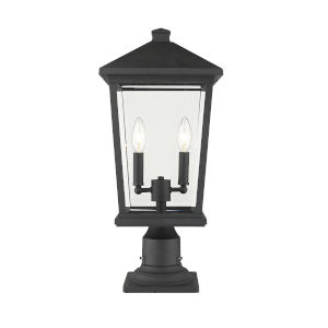 Beacon Black Two-Light Outdoor Pier Mounted Fixture With Transparent Beveled Glass